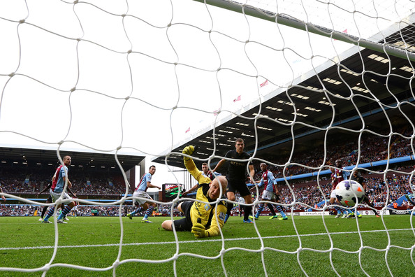 Back of the net. Yaya scored one of his 20 PL goals last season at Villa Park, before City succumbed 3-2. Courtesy @MCFC