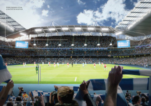 Ground floor - a graphic of what an expanded Etihad Stadium would like from within the three-tiered bowl