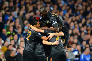 Crest fallen - City celebrates Aguero's equaliser not knowing the calamity was to come...