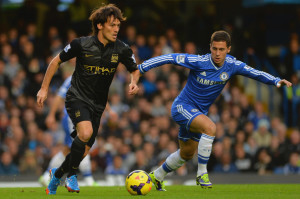 Close quarters - Chelsea and City were locked in stalemate until Torres' last minute winner