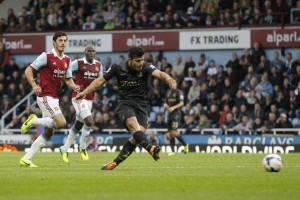 Surgical strike - Sergio Aguero opens City's account at Upton Park.Pic courtesy @MCFC
