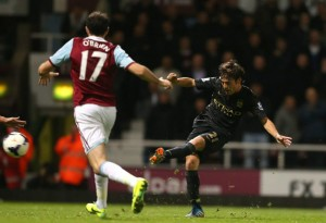 Silva Strike - David finishes off the Hammers' Finnish keeper Jaaskelainen for 3-1Courtesy @MCFC