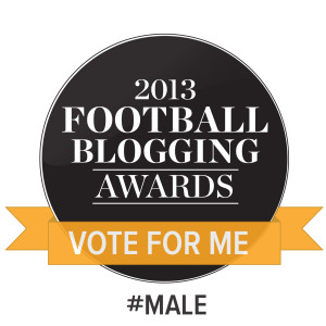 Seeking votes - if you want to vote for Read But Never Red in the Football Blogging Awards 2013 via Twitter please tweet: I am voting in @TheFBAs for Best #Male @djwskyblu