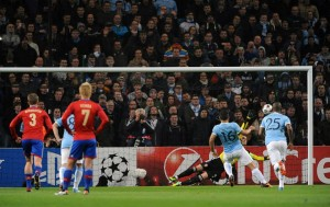 Penalty appeal - Sergio Aguero became City's highest scorer in European competition - Courtesy @MCFC