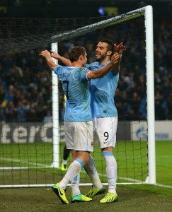 High flyers - Negredo thanks Milner for putting his hat-trick header on a plate Courtesy @MCFC