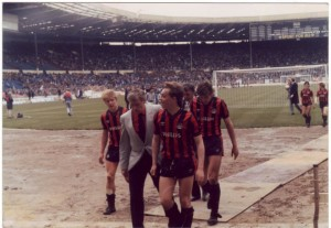 Wembley winners - Ian Brightwell, Tony Book, John Bookbinder, David White, John Clarke & Stev Macauley leave the field after a 2-1 win over Chelsea's 'apprentices' before the Full Member's Cup Final of 1986