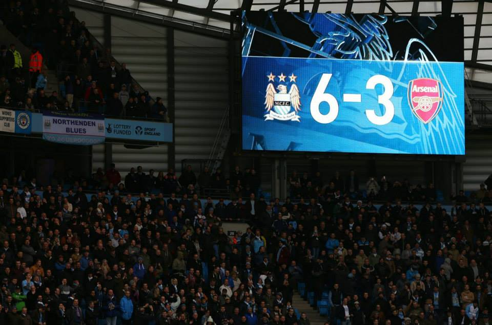 Final score - what a wonderful sight when the Gooners were gunned down at the Etihad. Courtesy @MCFC
