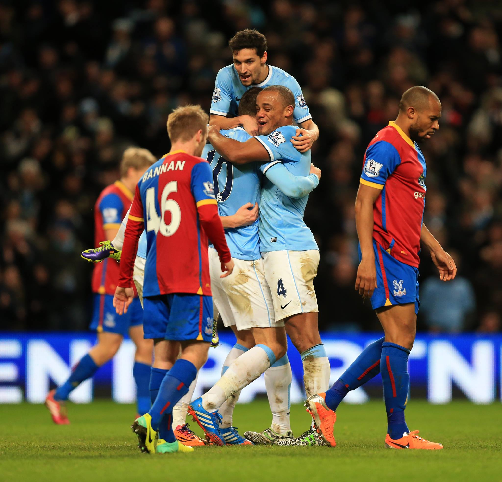 50 not out - Edin celebrates his 'goalden' anniversary with the winner over Palace last December. Courtesy @MCFC
