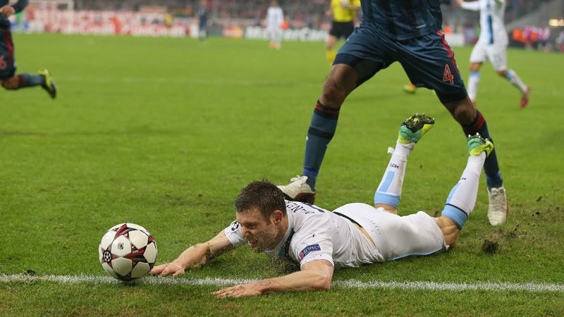Man down - Milner is sent sprawling for City's penalty Courtesy @MCFC