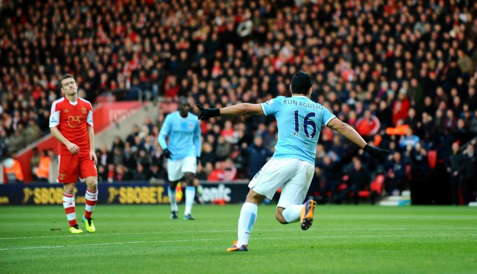 Winging it - Aguero is flying this season but he did miss a great chance for City's second Courtesy @MCFC