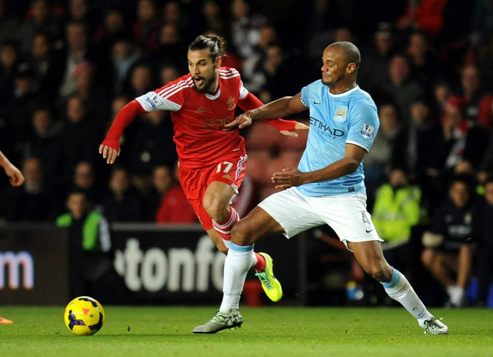 Bad company - Saints' striker Osvaldo turned Kompany for the equaliser Courtesy @MCFC