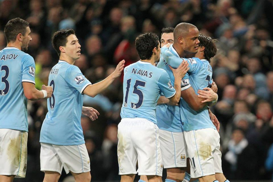 Team effort - City celebrate an all too rare win over Liverpool  Courtesy @MCFC