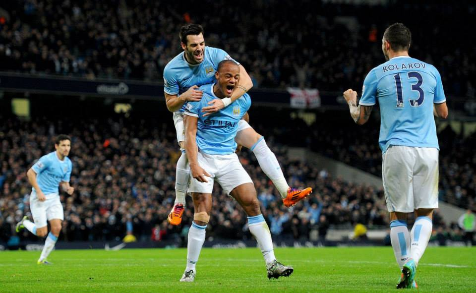 Leading the charge - Captain Kompany celebrates City's equaliser  Courtesy @MCFC