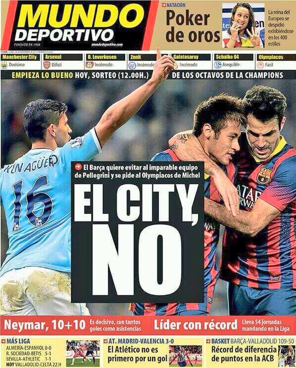 Not happy - The Spanish media feared for Barcelona when the draw was made last December