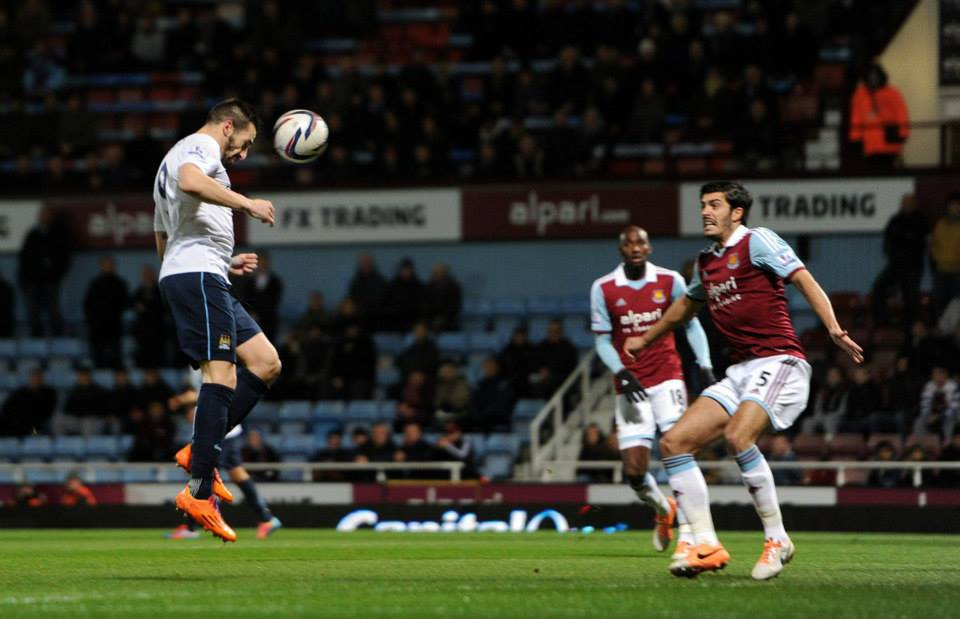 Unchallenged - Negredo opens the City goals account in East London  Courtesy @MCFC