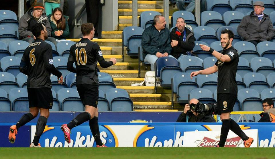 Goal celebrations - It wasn't enough on the day but Rovers must now come to Fortress Etihad  Courtesy @MCFC
