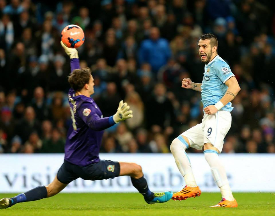 2-0 - Negredo dinks the ball over Blackburn substitute keeper Eastwood  Courtesy @MCFC