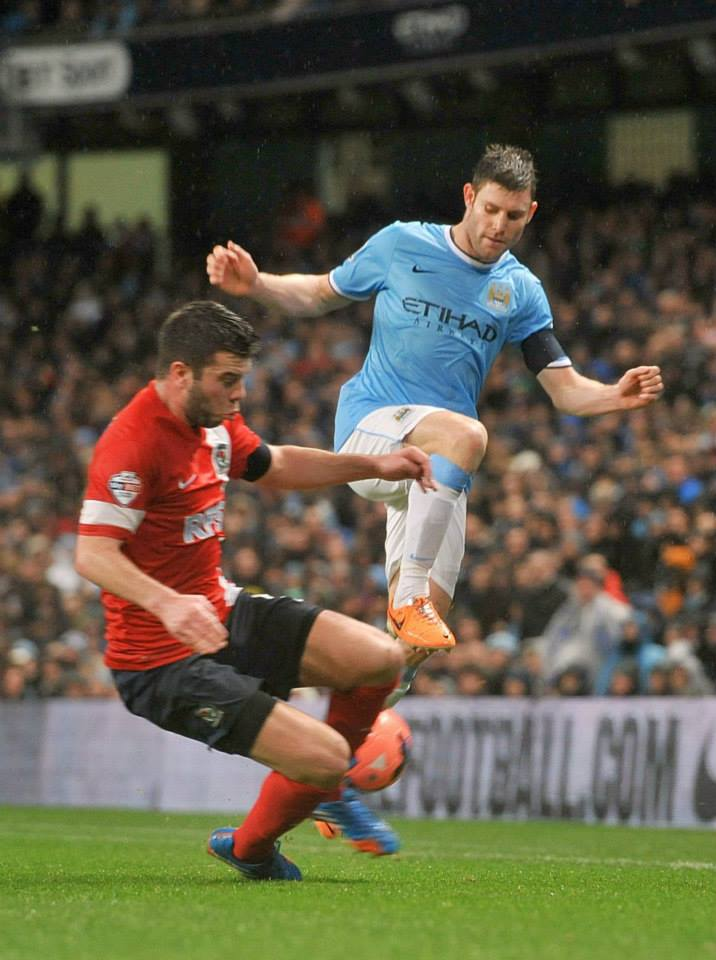 Captain Milner - James came within a fraction of City's 100th goal of the season  Courtesy @MCFC