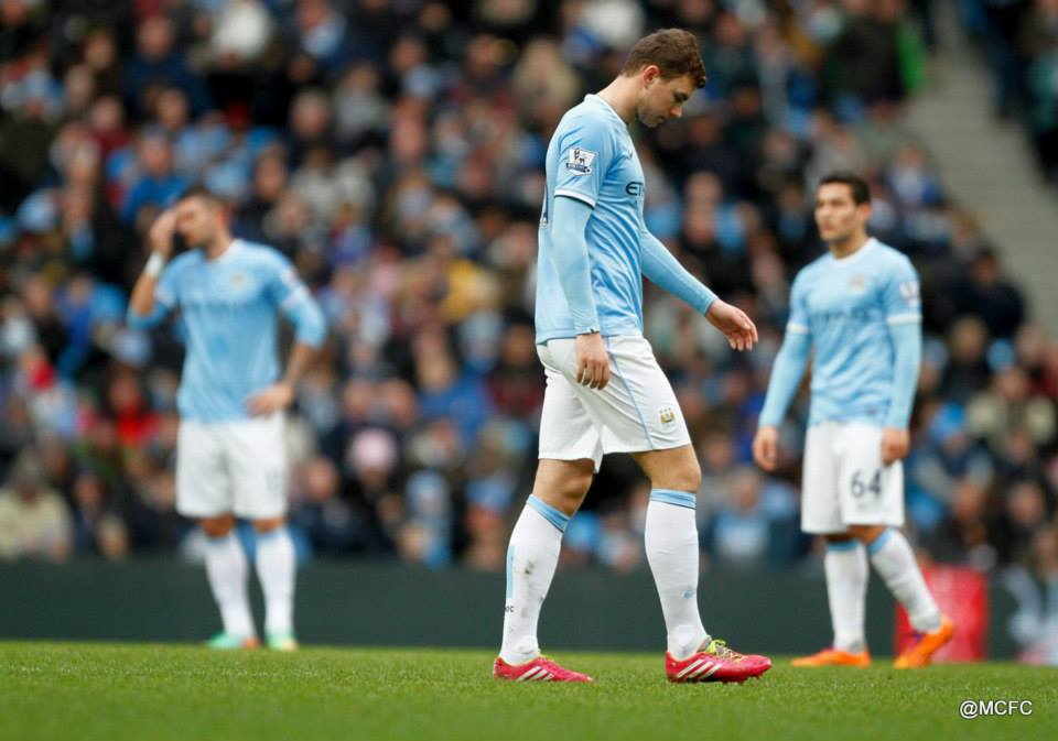 Downcast - Dzeko's body language reflected the sombre mood of the first half   Courtesy @MCFC