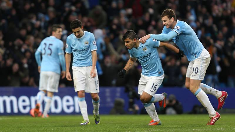Relief - City players are jubilant as they claw their way back into the FA Cup tie  Courtesy @MCFC