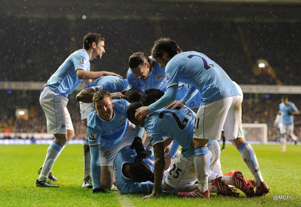 Gain in the rain - City were loving it at 'The Lane'  last season as they smashed Spurs 5-1 Courtesy @MCFC