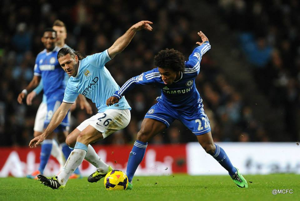 Difficult night - Demichelis was thrust into City's midfield and endured a tough evening  Courtesy @MCFC