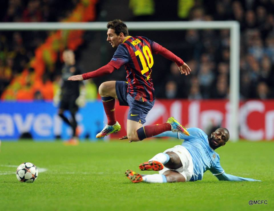 High flyer - Messi was kept quiet...but not quiet enough  Courtesy @MCFC