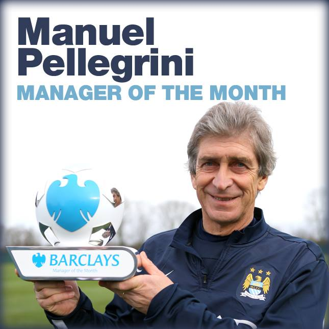 Double winner - MP displays his second consecutive Manager of the Month Award  Courtesy @MCFC