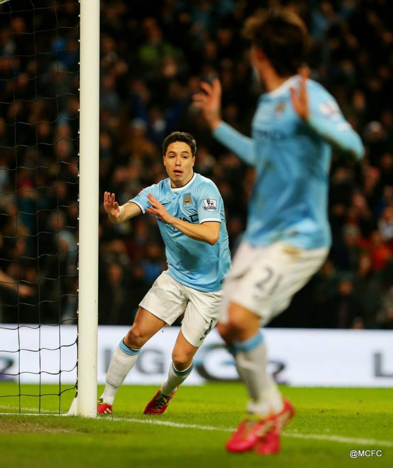 The old 1-2 - Silva and Samir combined to make it 2-0  Courtesy @MCFC