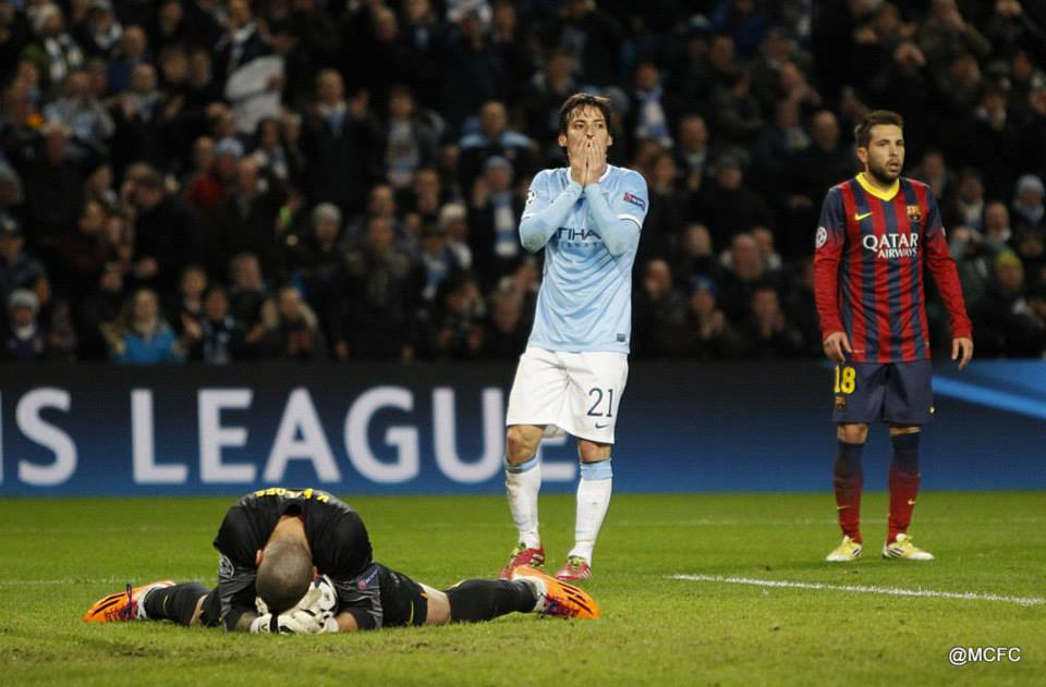 Damn that was close - David Silva cannot believe Victor Valdes has saved his right foot volley  Courtesy @MCFC
