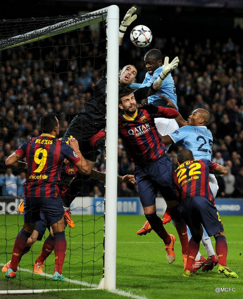 Inches away - Yaya thwarted by the massed Barcelona defence  Courtesy @MCFC