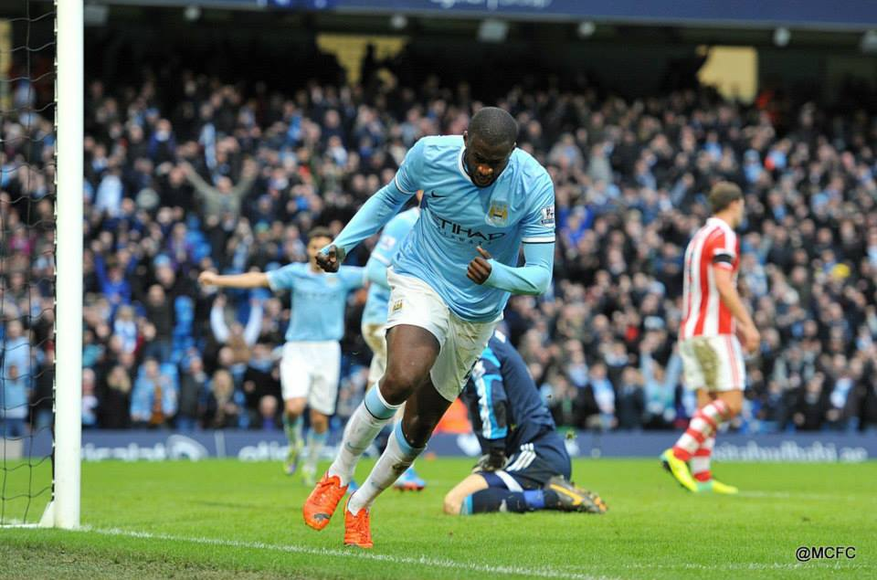 1-0 - Yaya acclaims his winner against Stoke last February. Courtesy @MCFC