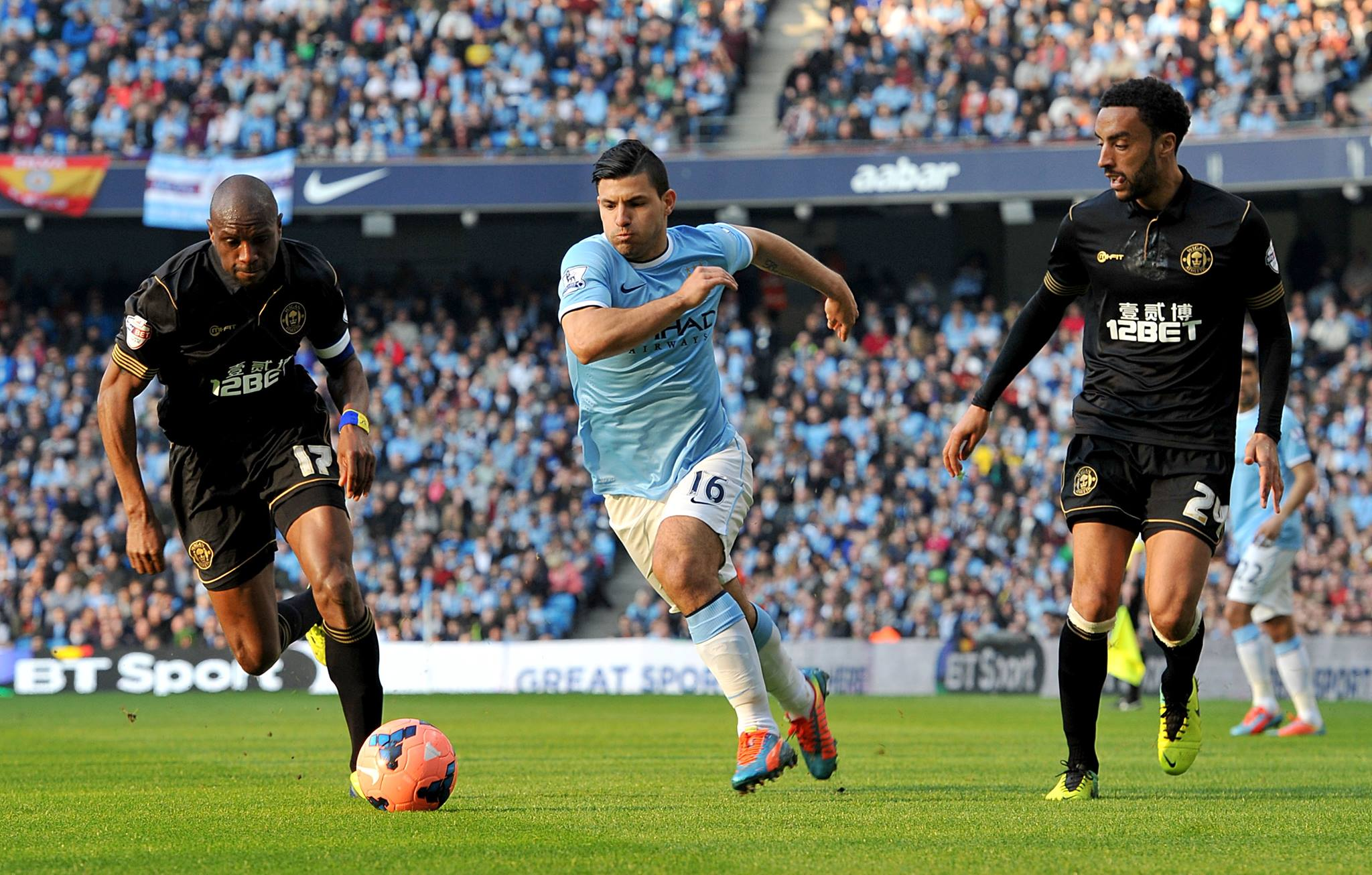 Bursting through but with no end product - Sergio couldn't score to beat Wigan.  Courtesy @MCFC