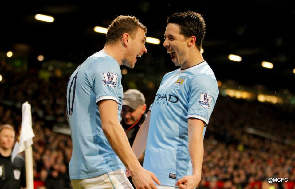 Happy chappies - Dzeko and Nasri oozed class and determination. Courtesy @MCFC