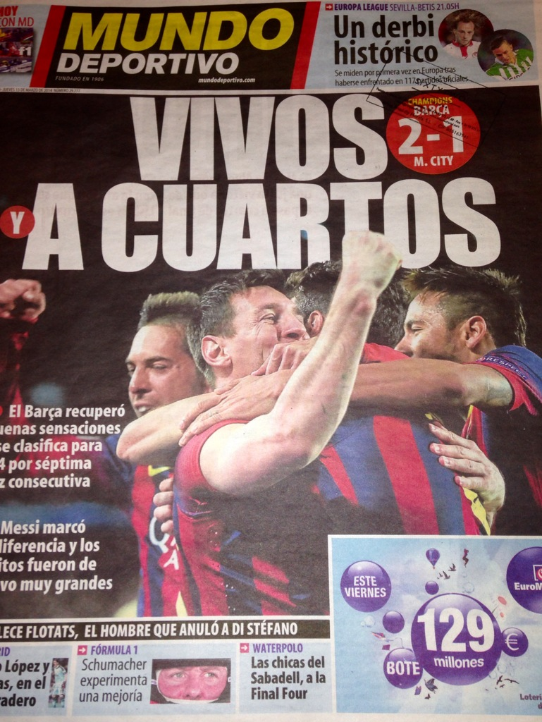 Headlines - The Spanish press would have gone to town if bullied City fans had hit back at Barca's thuggish stewards