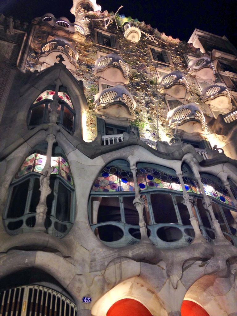 Architectural splendour - Gaudi's house in the centre of Barcelona floodlit at midnight