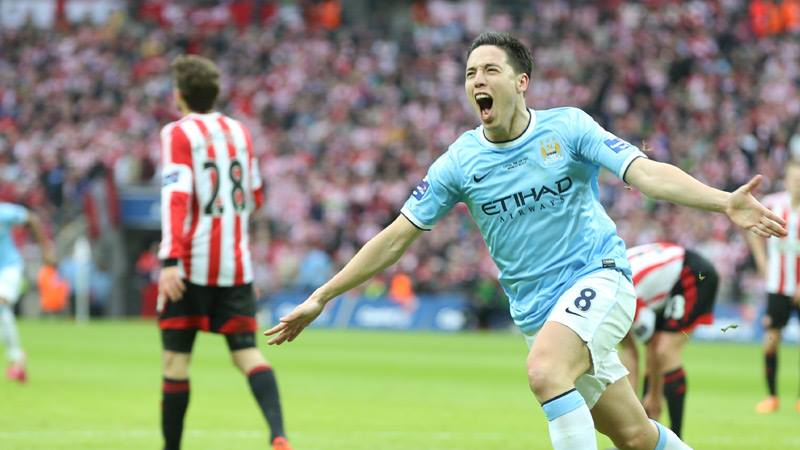 SAM - Nasri's surface to air missile gave City the lead at Wembley recently Courtesy @MCFC