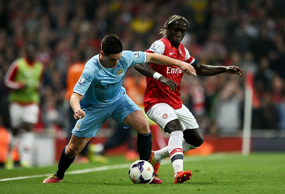 French Resistance - Nasri and Sagna battle at The Emirates. Courtesy @:MCFC