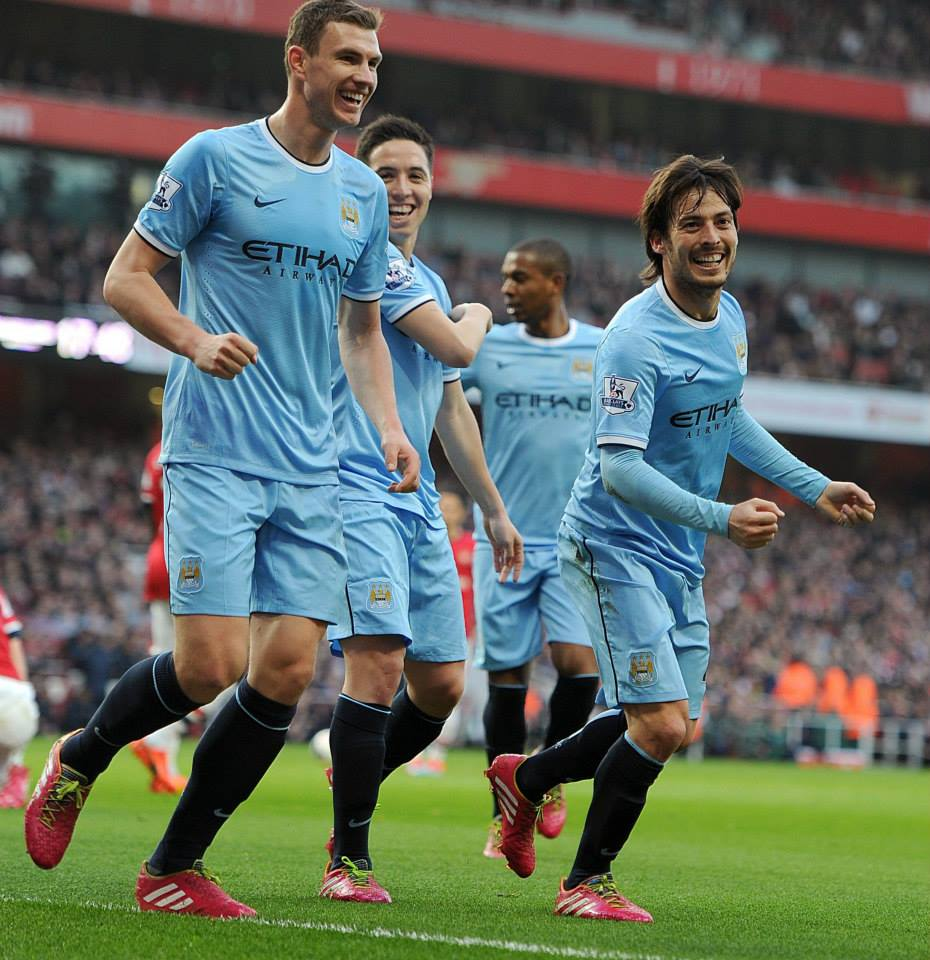 Great start - City celebrate going ahead at The Emirates. Courtesy @MCFC