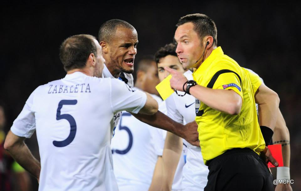 Missing from action - Zaba serves a one match ban after seeing red from annoying French ref Stephen Lannoy in the Nou Camp. Courtesy @MCFC