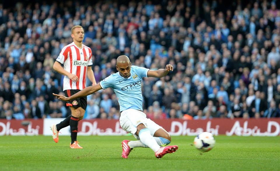 First blood - Fernandinho's goal looked set to be a curtain raiser for another City win. Courtesy @MCFC