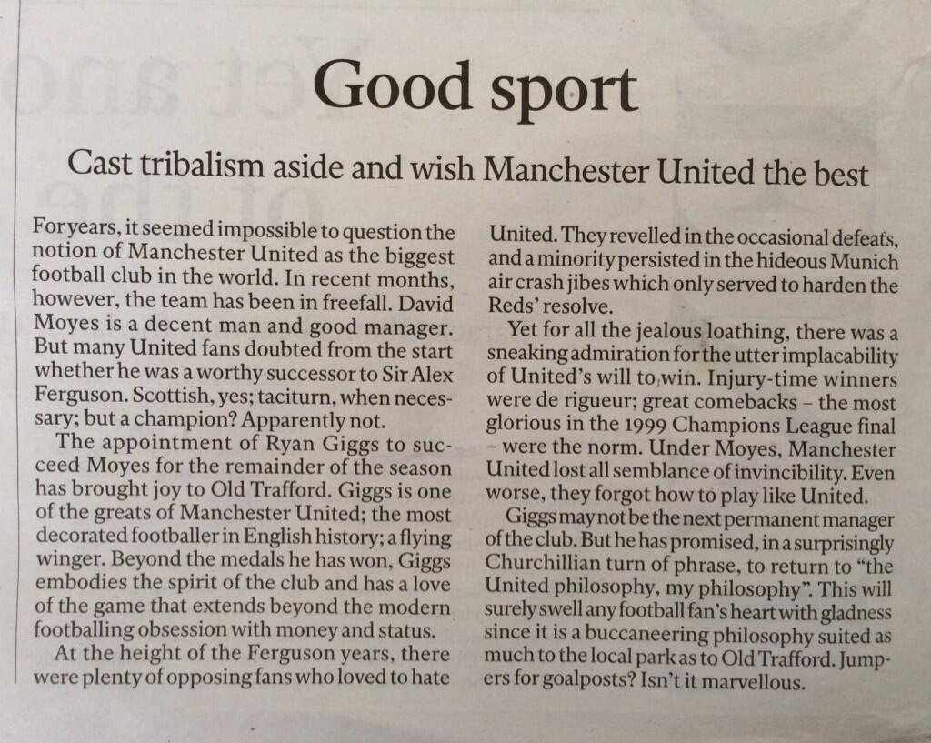 Outrageous - The Independent 'newspaper' published this sickening editorial homage to Manure on Saturday.