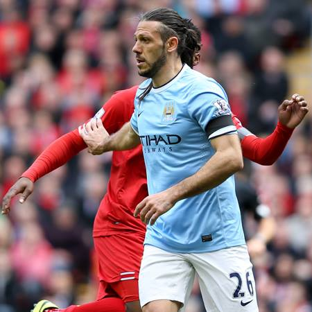 Repelling the rodent - Martin Demichelis gave a good account of himself against cheating Luis Suarez. Courtesy @MCFC