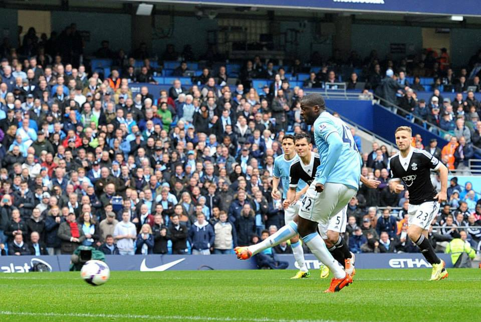 Hot spot - Yaya converted his 4th penalty of the season in Aguero's absence. Courtesy @MCFC