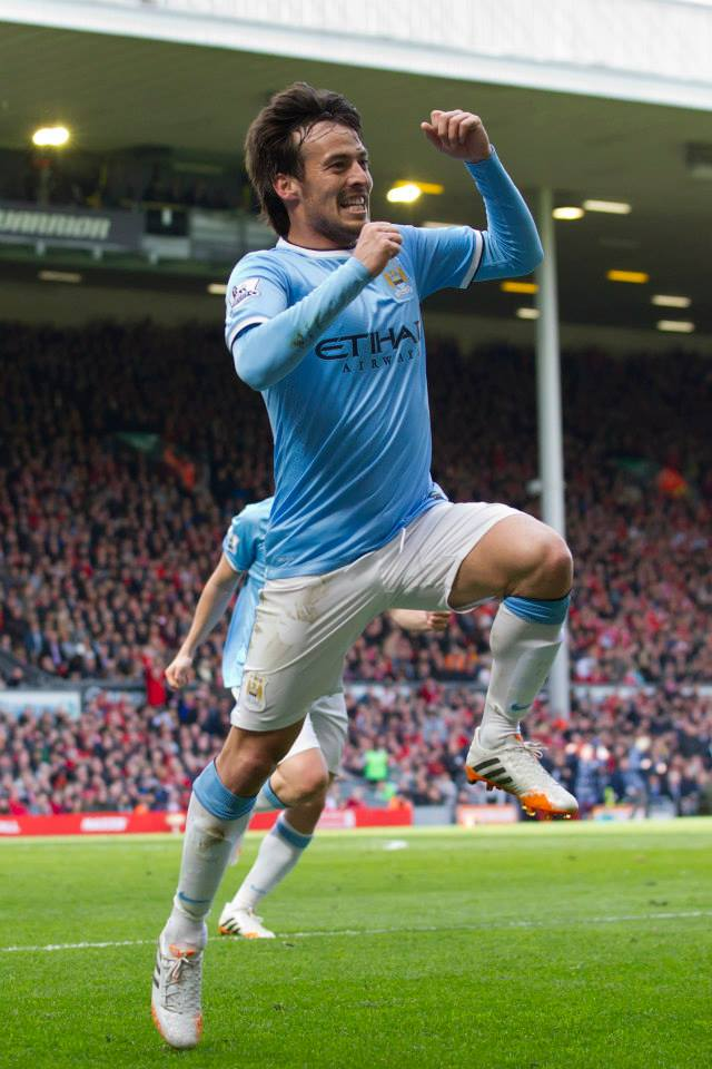 False dawn - David Silva's goal at Anfield last season was in vain as City lost once again on Merseyside. Courtesy @MCFC