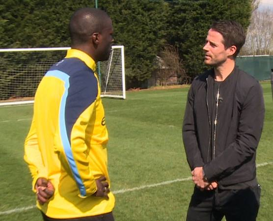 In the spotlight - Yaya Toure speaks with Sky Football pundit Jamie Redknapp. Courtesy @MCFC