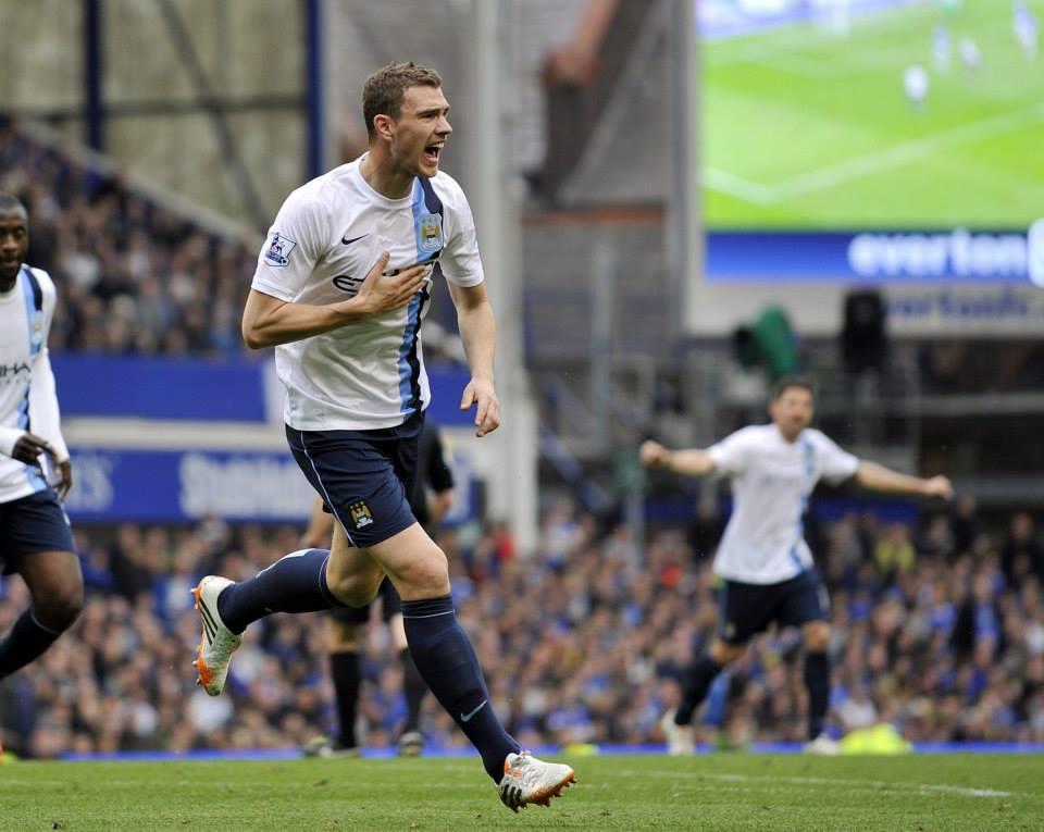 ED-ging it - Dzeko celebrates. Courtesy @MCFC