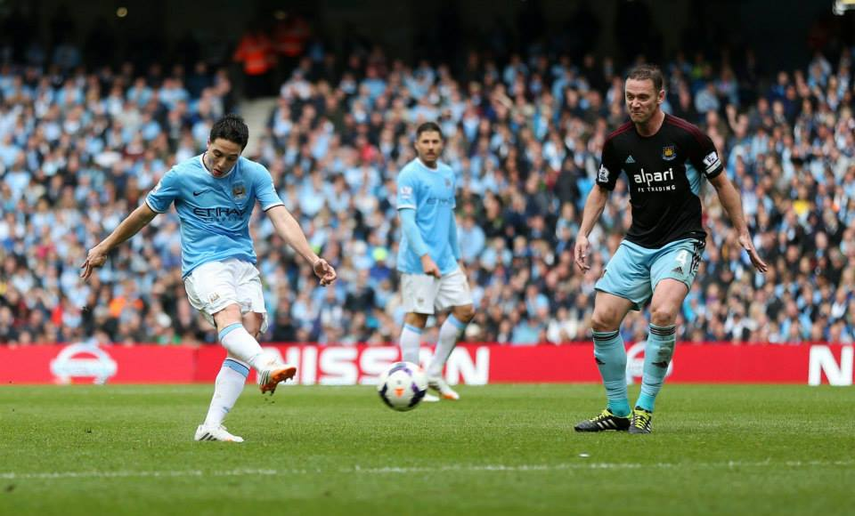 Exocet - Nasri's 39th minute missile had City zeroing in on the PL title target. Courtesy @MCFC
