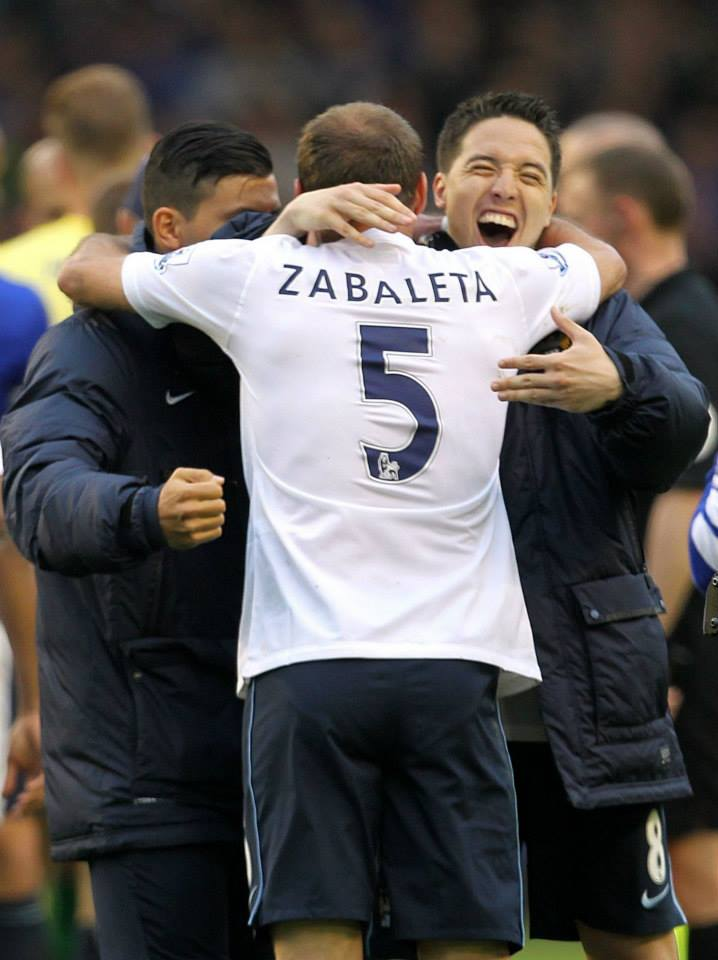 Last time out - Sergio, Pablo and Samir celebrate City's win at the final whistle at Goodison Park. Courtesy @MCFC