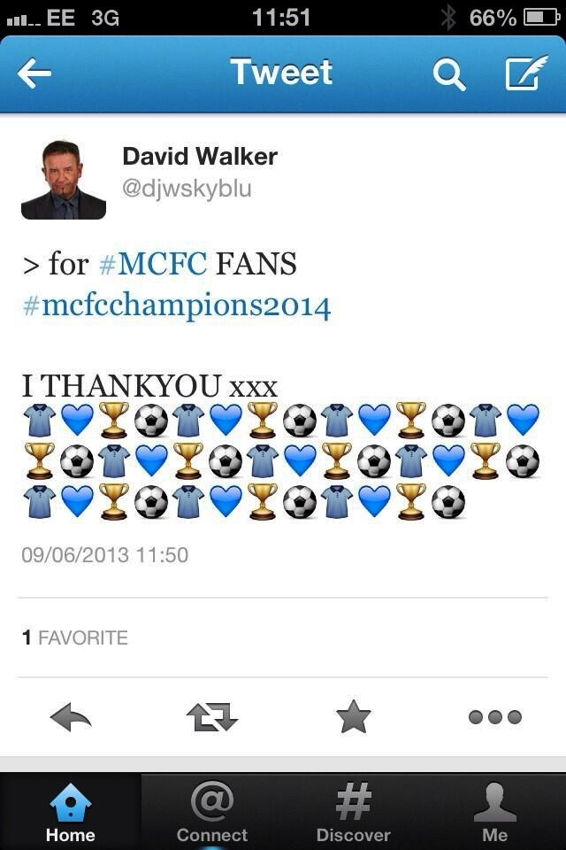 Premonition - Read But Never Red tweeted in June 2013 that City would be PL Champions in 2014 #TrustOurMP